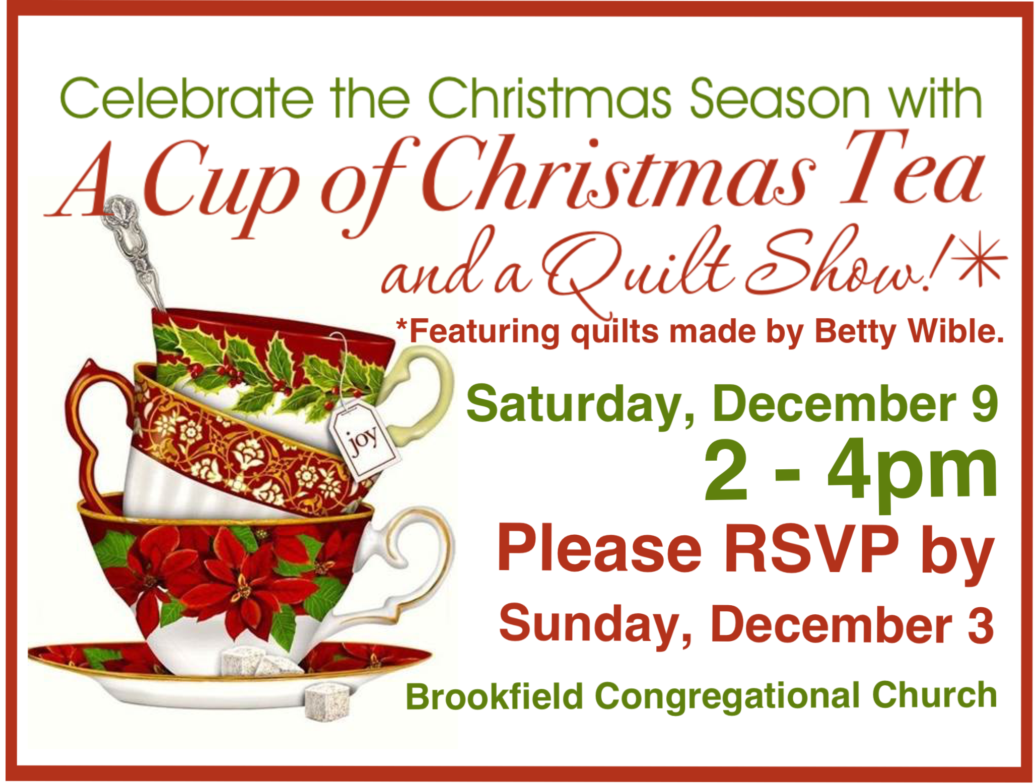 a cup of christmas tea quilt show brookfield congregational church - A Cup Of Christmas Tea